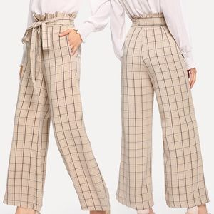 Pants - 🆕Ruffle detail waist belted plaid pants